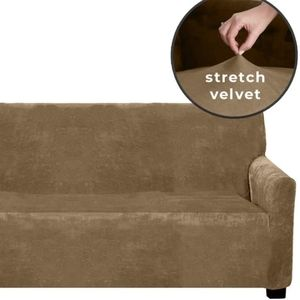 Stretch velvet elastic sofa slipcover, taupe, caramel, New condition.   form fit